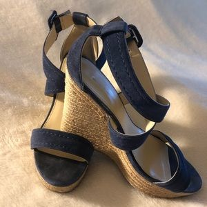 Marc Fisher Blue suede wedge sandals size 9,5